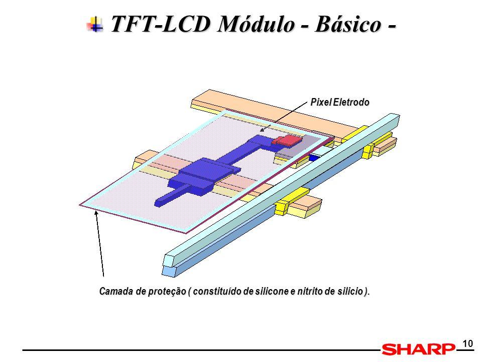 10 TFT-LCD Módulo - Básico - TFT-LCD Módulo - Básico - Pixel Eletrodo Camada de proteção ( constituído de silicone e nitrito de silicio ).