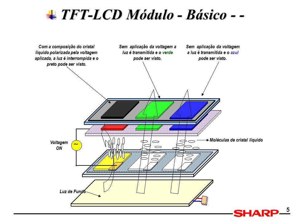 5 TFT-LCD Módulo - Básico - - TFT-LCD Módulo - Básico - - Voltagem ON Moléculas de cristal líquido Luz de Fundo Com a composição do cristal líquido po