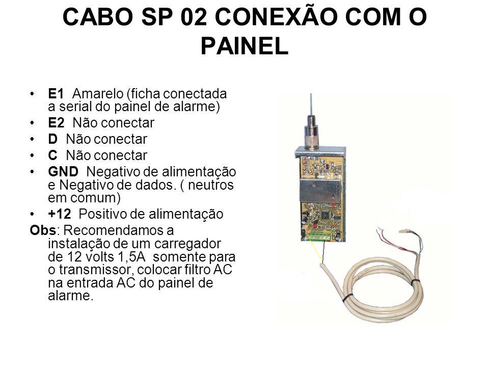CABO SP02 CONEXÃO COM O PAINEL. CABO SP 02 CONEXÃO COM O PAINEL E1 Amarelo (ficha conectada a serial do painel de alarme) E2 Não conectar D Não conect