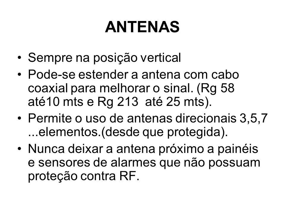 ANTENAS Sempre na posição vertical Pode-se estender a antena com cabo coaxial para melhorar o sinal. (Rg 58 até10 mts e Rg 213 até 25 mts). Permite o