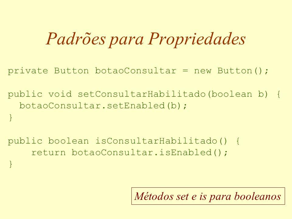 Padrões para Propriedades public class Controle extends Panel...