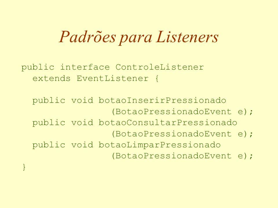 Usando os Serviços de um Bean Bean Chamada de método Objeto Listener1 Listener2 Listener3 Notificação de evento Inscrição para ouvir evento