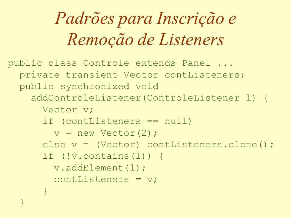 Padrões para Definição de Eventos public class BotaoPressionadoEvent extends EventObject { public BotaoPressionadoEvent(Object source) { super(source); }