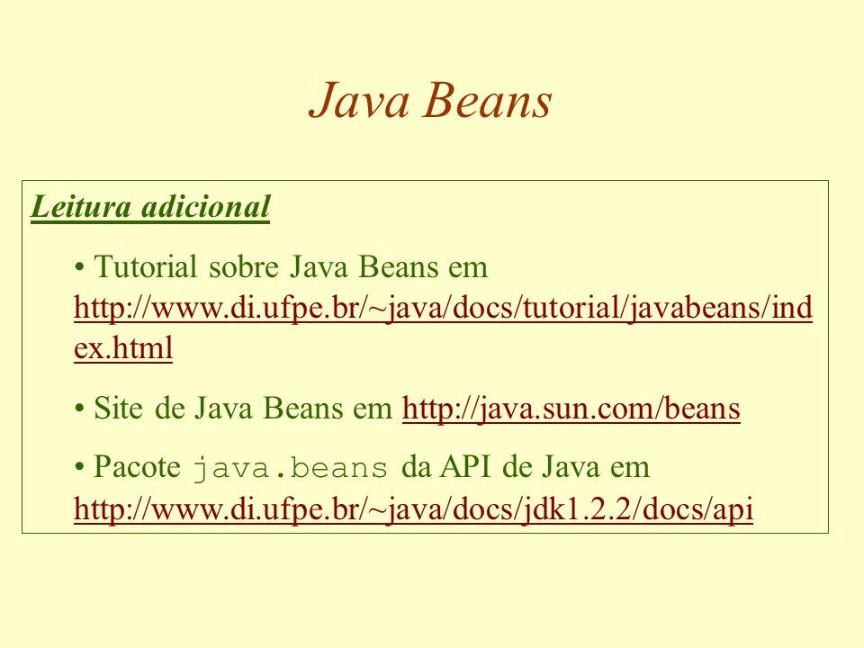 Java Beans Resumo Componentes de software e o padrão Java Beans Propriedades: métodos set e get Introspecção: BeanInfo e Introspector Comunicação por eventos: EventListener e EventObject Customização: PropertyEditor e Customizer Persistência: Serializable e Externalizable