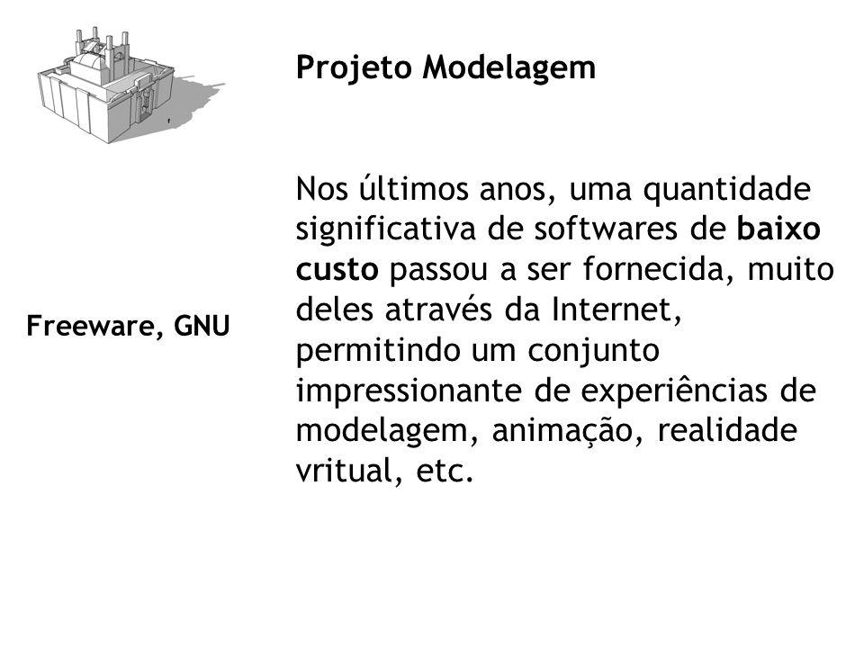 Projeto Modelagem Nos últimos anos, uma quantidade significativa de softwares de baixo custo passou a ser fornecida, muito deles através da Internet, permitindo um conjunto impressionante de experiências de modelagem, animação, realidade vritual, etc.