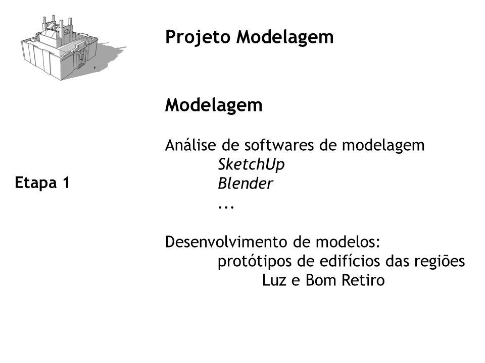 Projeto Modelagem Modelagem Análise de softwares de modelagem SketchUp Blender... Desenvolvimento de modelos: protótipos de edifícios das regiões Luz