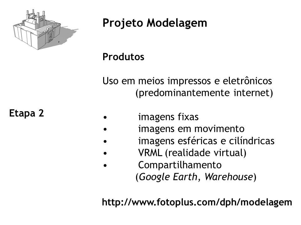 Projeto Modelagem Produtos Uso em meios impressos e eletrônicos (predominantemente internet) imagens fixas imagens em movimento imagens esféricas e cilíndricas VRML (realidade virtual) Compartilhamento (Google Earth, Warehouse) Etapa 2 http://www.fotoplus.com/dph/modelagem