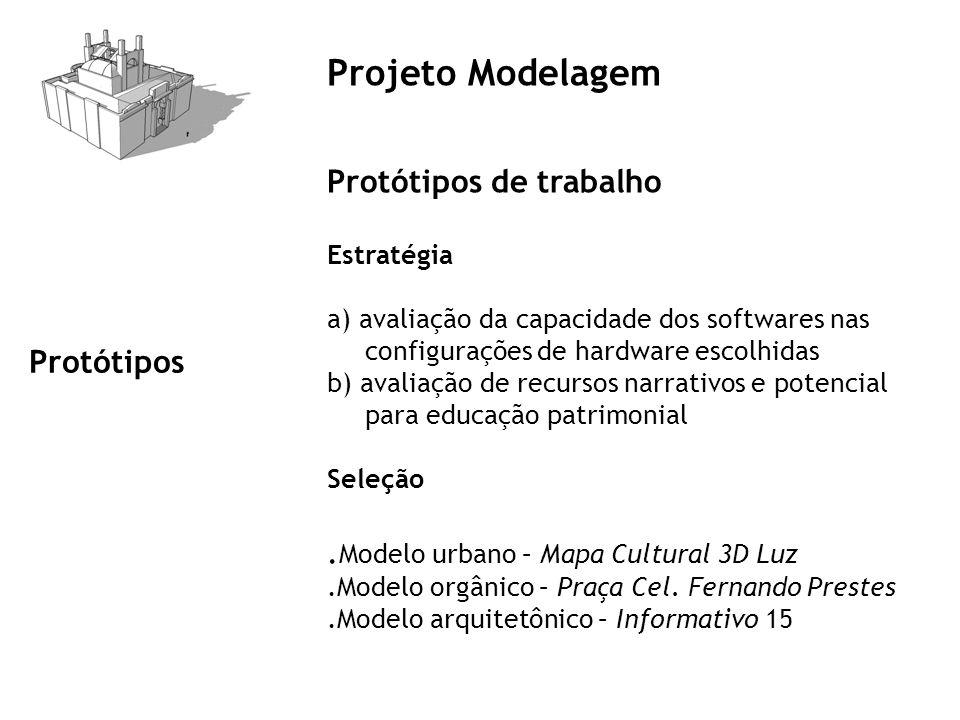Projeto Modelagem Protótipos de trabalho Estratégia a) avaliação da capacidade dos softwares nas configurações de hardware escolhidas b) avaliação de