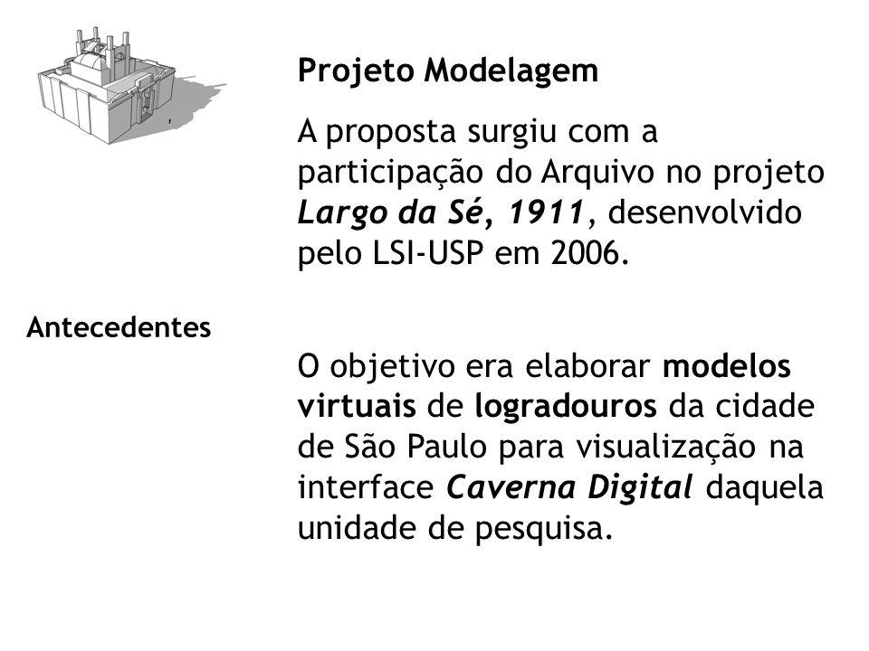 Projeto Modelagem A proposta surgiu com a participação do Arquivo no projeto Largo da Sé, 1911, desenvolvido pelo LSI-USP em 2006. O objetivo era elab
