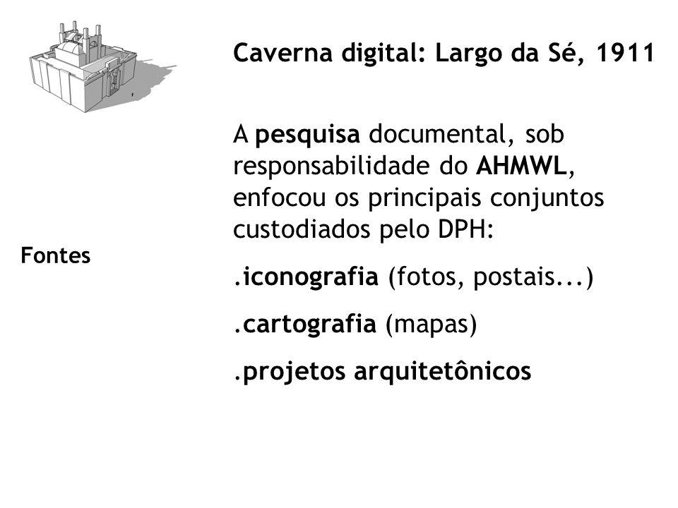 Caverna digital: Largo da Sé, 1911 A pesquisa documental, sob responsabilidade do AHMWL, enfocou os principais conjuntos custodiados pelo DPH:.iconografia (fotos, postais...).cartografia (mapas).projetos arquitetônicos Fontes