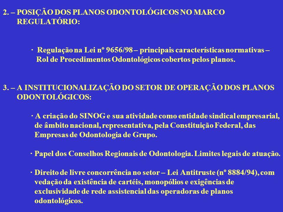 2. – POSIÇÃO DOS PLANOS ODONTOLÓGICOS NO MARCO REGULATÓRIO: · Regulação na Lei nº 9656/98 – principais características normativas – Rol de Procediment