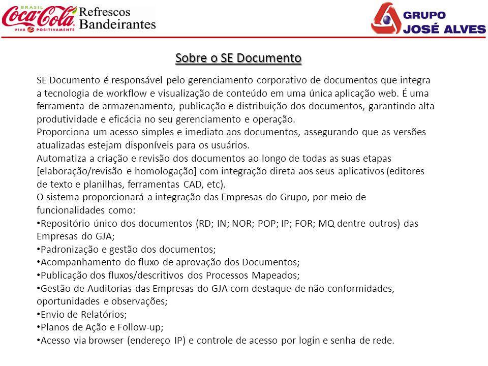 Sobre o SE Documento SE Documento é responsável pelo gerenciamento corporativo de documentos que integra a tecnologia de workflow e visualização de co