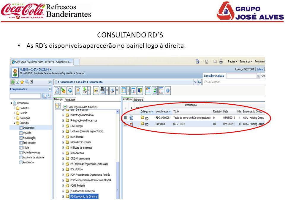 CONSULTANDO RD'S As RD's disponíveis aparecerão no painel logo à direita.
