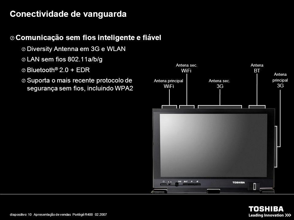 diapositivo: 10 Apresentação de vendas Portégé R400 02.2007  Comunicação sem fios inteligente e fiável  Diversity Antenna em 3G e WLAN  LAN sem fio