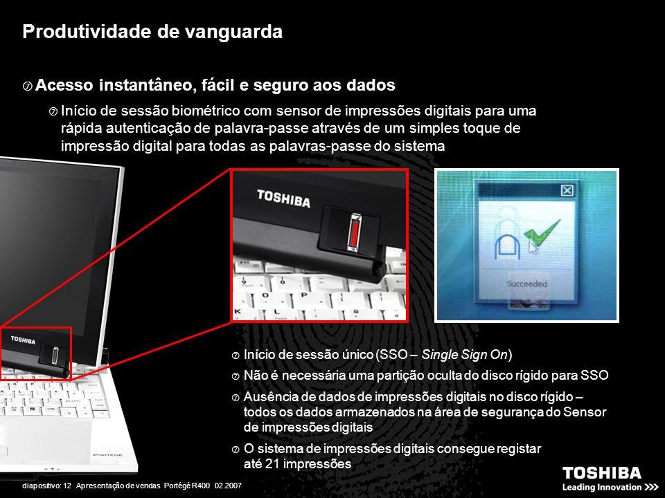 diapositivo: 12 Apresentação de vendas Portégé R400 02.2007 Produtividade de vanguarda  Acesso instantâneo, fácil e seguro aos dados  Início de sess