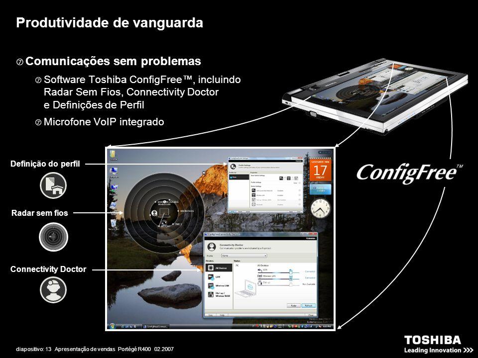 diapositivo: 13 Apresentação de vendas Portégé R400 02.2007 Produtividade de vanguarda  Comunicações sem problemas  Software Toshiba ConfigFree™, in