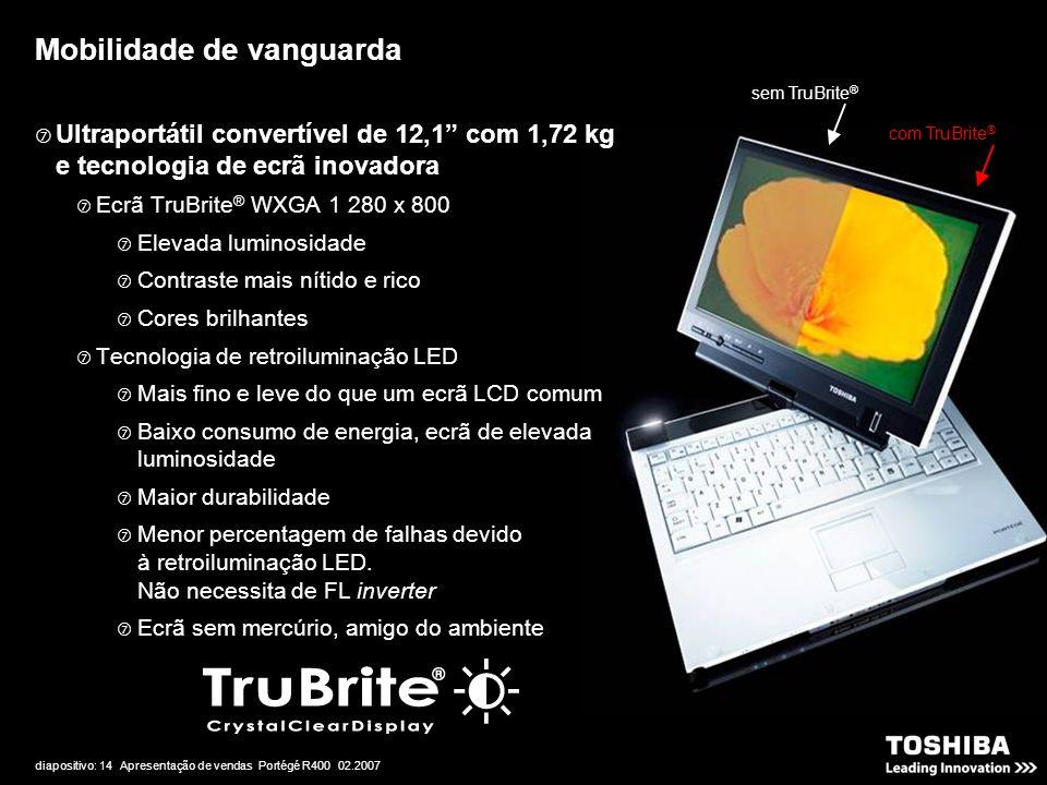 """diapositivo: 14 Apresentação de vendas Portégé R400 02.2007 Mobilidade de vanguarda sem TruBrite ® com TruBrite ®  Ultraportátil convertível de 12,1"""""""
