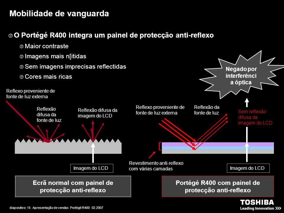 diapositivo: 15 Apresentação de vendas Portégé R400 02.2007 Reflexo proveniente de fonte de luz externa Reflexão difusa da fonte de luz Imagem do LCD