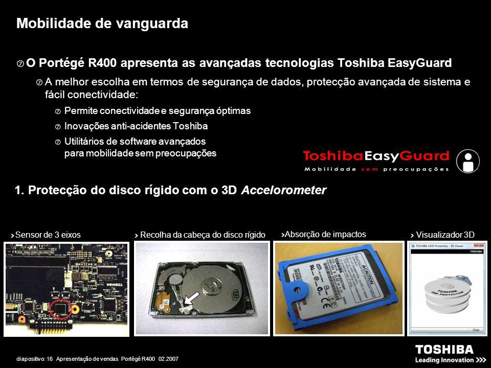 diapositivo: 16 Apresentação de vendas Portégé R400 02.2007 Mobilidade de vanguarda  O Portégé R400 apresenta as avançadas tecnologias Toshiba EasyGuard  A melhor escolha em termos de segurança de dados, protecção avançada de sistema e fácil conectividade:  Permite conectividade e segurança óptimas  Inovações anti-acidentes Toshiba  Utilitários de software avançados para mobilidade sem preocupações Sensor de 3 eixos Recolha da cabeça do disco rígido Absorção de impactos Visualizador 3D 1.