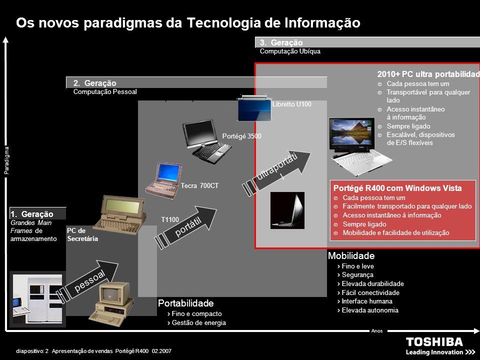 diapositivo: 2 Apresentação de vendas Portégé R400 02.2007 Os novos paradigmas da Tecnologia de Informação Paradigma 2. Geração Computação Pessoal T11