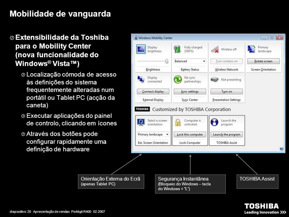 diapositivo: 20 Apresentação de vendas Portégé R400 02.2007  Extensibilidade da Toshiba para o Mobility Center (nova funcionalidade do Windows ® Vist