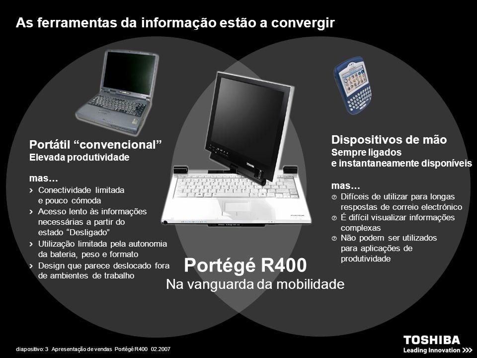 """diapositivo: 3 Apresentação de vendas Portégé R400 02.2007 Na vanguarda da mobilidade Portátil """"convencional"""" Elevada produtividade mas… Conectividade"""