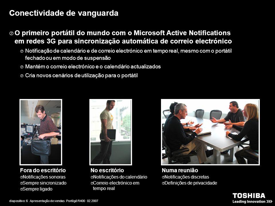 diapositivo: 6 Apresentação de vendas Portégé R400 02.2007 Conectividade de vanguarda Fora do escritório  Notificações sonoras  Sempre sincronizado