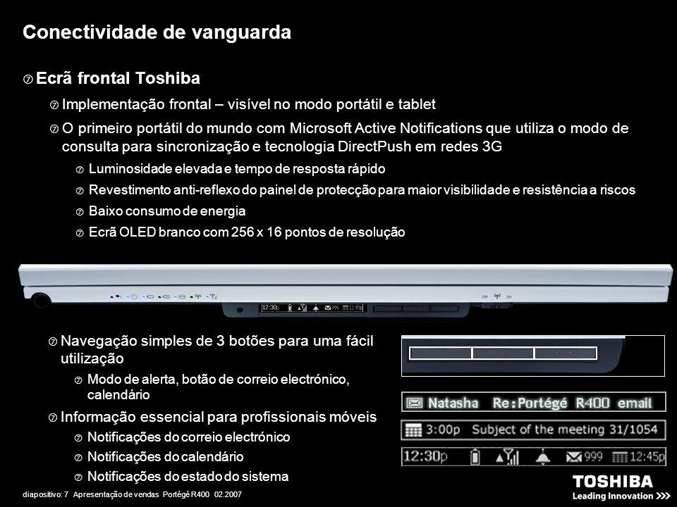 diapositivo: 7 Apresentação de vendas Portégé R400 02.2007 Conectividade de vanguarda  Ecrã frontal Toshiba  Implementação frontal – visível no modo