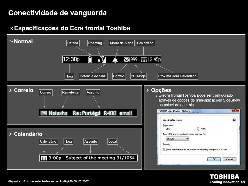 diapositivo: 8 Apresentação de vendas Portégé R400 02.2007  Especificações do Ecrã frontal Toshiba Conectividade de vanguarda Opções O ecrã frontal Toshiba pode ser configurado através de opções de mini-aplicações SideShow no painel de controlo  Normal Potência do SinalPróxima Hora CalendárioN.º MsgsCorreio Modo de Alerta Hora BateriaRoamingCalendário Correio RemetenteAssunto Calendário LocalAssuntoHoraCalendário