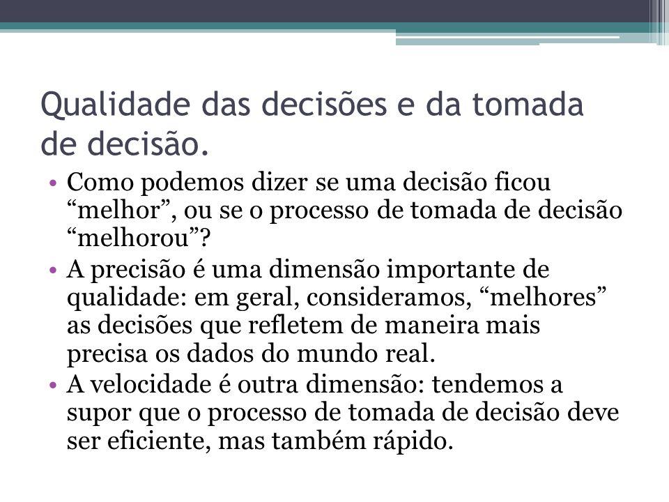 """Qualidade das decisões e da tomada de decisão. Como podemos dizer se uma decisão ficou """"melhor"""", ou se o processo de tomada de decisão """"melhorou""""? A p"""