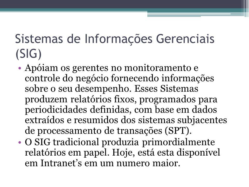 Sistemas de Informações Gerenciais (SIG) Apóiam os gerentes no monitoramento e controle do negócio fornecendo informações sobre o seu desempenho. Esse