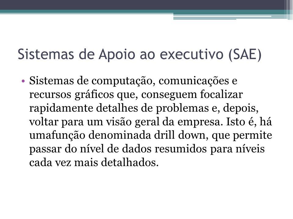 Sistemas de Apoio ao executivo (SAE) Sistemas de computação, comunicações e recursos gráficos que, conseguem focalizar rapidamente detalhes de problem