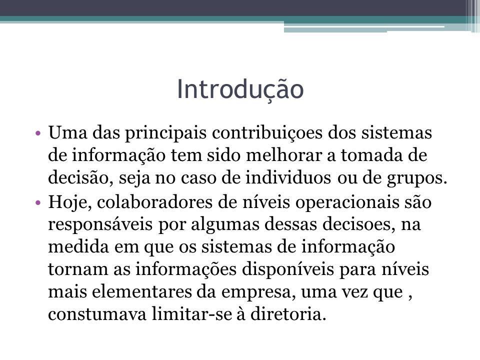 Introdução Uma das principais contribuiçoes dos sistemas de informação tem sido melhorar a tomada de decisão, seja no caso de individuos ou de grupos.