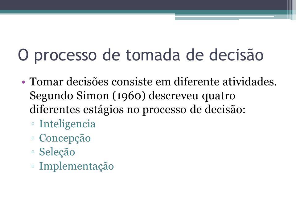 O processo de tomada de decisão Tomar decisões consiste em diferente atividades. Segundo Simon (1960) descreveu quatro diferentes estágios no processo