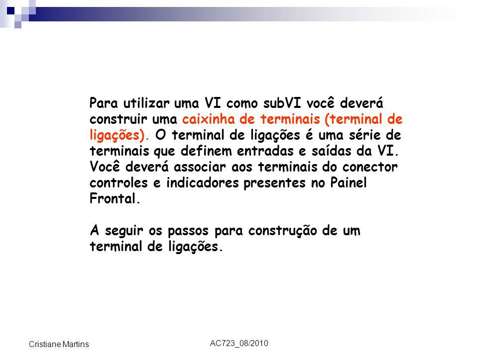 AC723_08/2010 Cristiane Martins Para utilizar uma VI como subVI você deverá construir uma caixinha de terminais (terminal de ligações). O terminal de