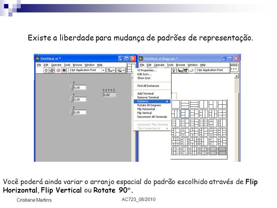 AC723_08/2010 Cristiane Martins Existe a liberdade para mudança de padrões de representação. Você poderá ainda variar o arranjo espacial do padrão esc