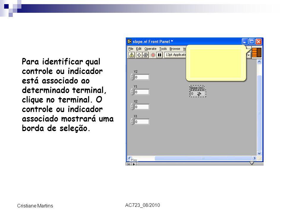 AC723_08/2010 Cristiane Martins Para identificar qual controle ou indicador está associado ao determinado terminal, clique no terminal. O controle ou