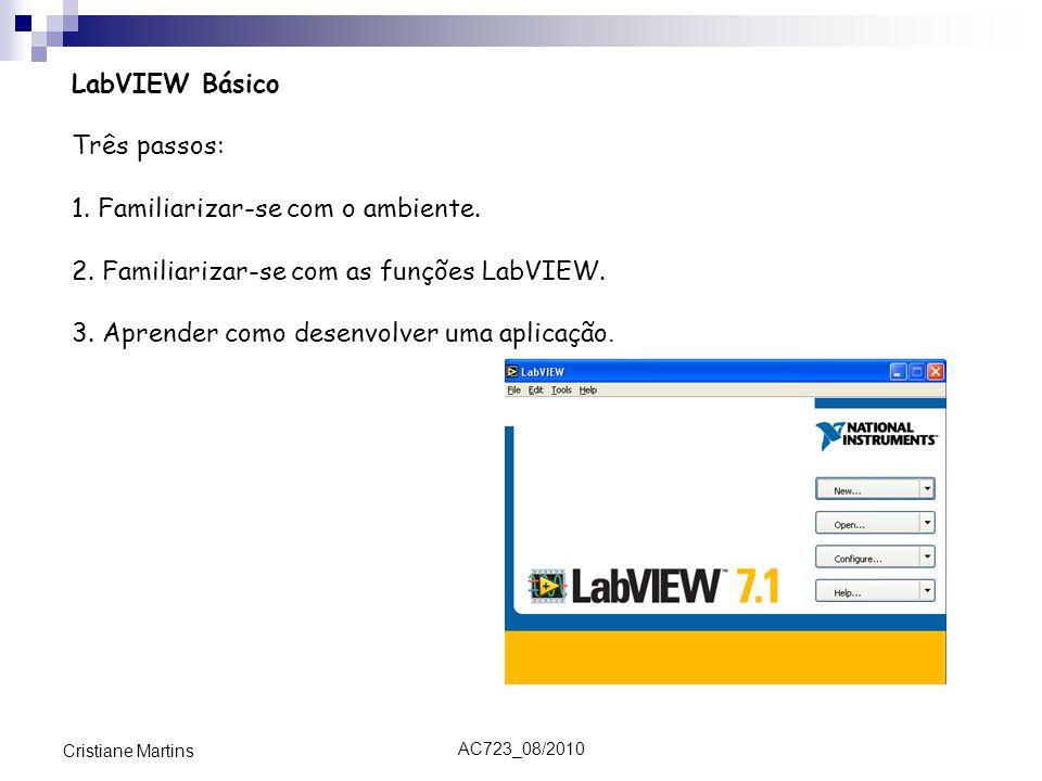 AC723_08/2010 Cristiane Martins LabVIEW Básico Três passos: 1. Familiarizar-se com o ambiente. 2. Familiarizar-se com as funções LabVIEW. 3. Aprender