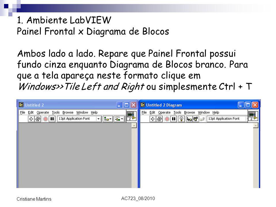 AC723_08/2010 Cristiane Martins 1. Ambiente LabVIEW Painel Frontal x Diagrama de Blocos Ambos lado a lado. Repare que Painel Frontal possui fundo cinz