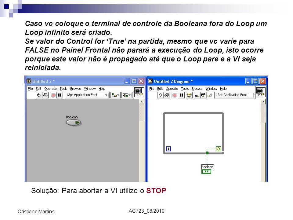 AC723_08/2010 Cristiane Martins Caso vc coloque o terminal de controle da Booleana fora do Loop um Loop infinito será criado. Se valor do Control for