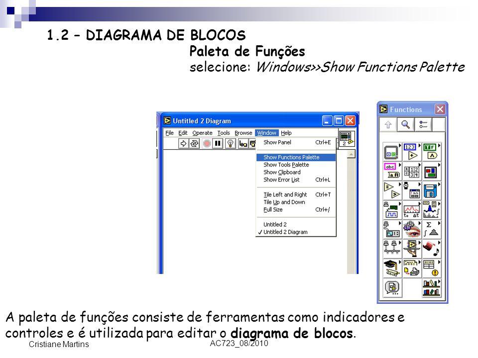 AC723_08/2010 Cristiane Martins 1.2 – DIAGRAMA DE BLOCOS Paleta de Funções selecione: Windows>>Show Functions Palette A paleta de funções consiste de ferramentas como indicadores e controles e é utilizada para editar o diagrama de blocos.