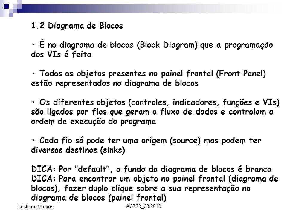 AC723_08/2010 Cristiane Martins 1.2 Diagrama de Blocos É no diagrama de blocos (Block Diagram) que a programação dos VIs é feita Todos os objetos presentes no painel frontal (Front Panel) estão representados no diagrama de blocos Os diferentes objetos (controles, indicadores, funções e VIs) são ligados por fios que geram o fluxo de dados e controlam a ordem de execução do programa Cada fio só pode ter uma origem (source) mas podem ter diversos destinos (sinks) DICA: Por ''default'', o fundo do diagrama de blocos é branco DICA: Para encontrar um objeto no painel frontal (diagrama de blocos), fazer duplo clique sobre a sua representação no diagrama de blocos (painel frontal)