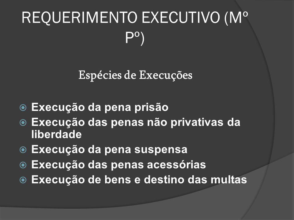REQUERIMENTO EXECUTIVO (Mº Pº) Espécies de Execuções  Execução da pena prisão  Execução das penas não privativas da liberdade  Execução da pena sus