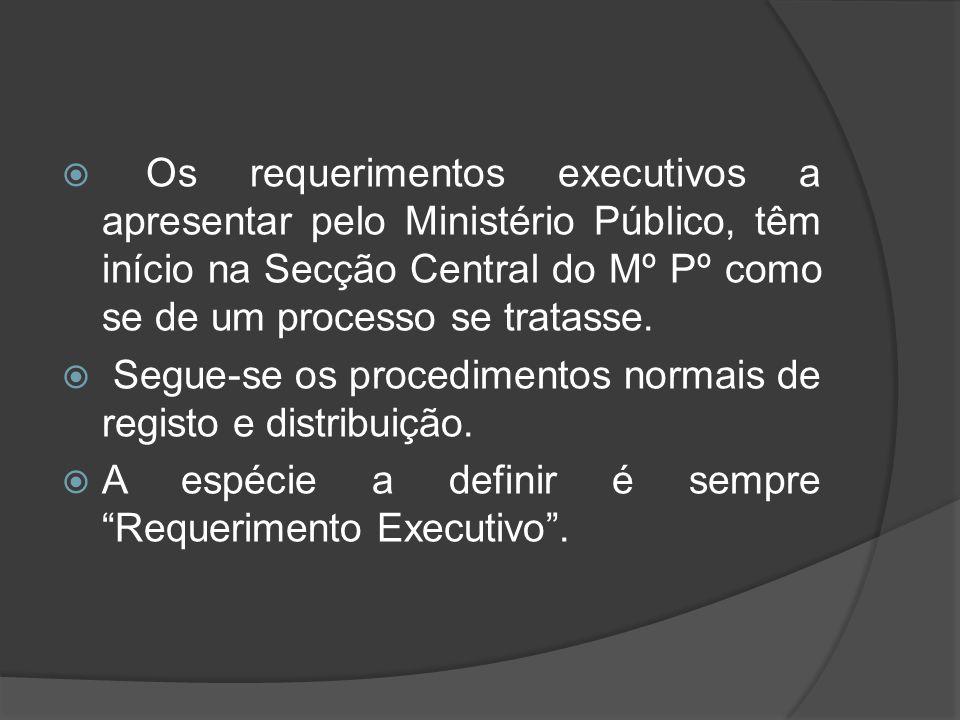  Os requerimentos executivos a apresentar pelo Ministério Público, têm início na Secção Central do Mº Pº como se de um processo se tratasse.  Segue-