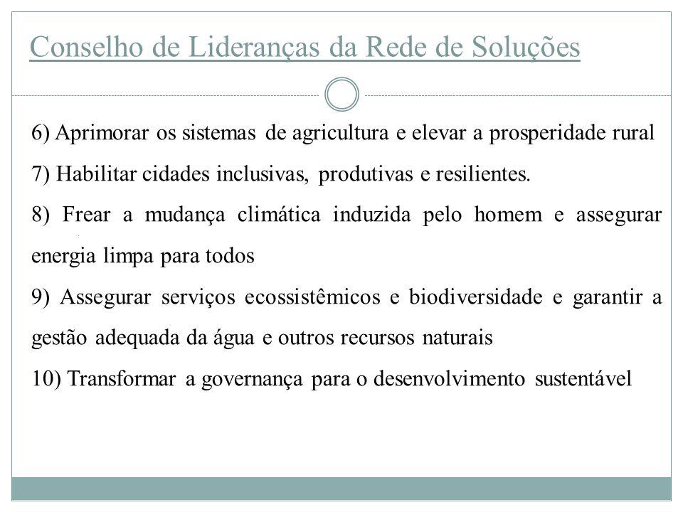 Conselho de Lideranças da Rede de Soluções 6) Aprimorar os sistemas de agricultura e elevar a prosperidade rural 7) Habilitar cidades inclusivas, produtivas e resilientes.