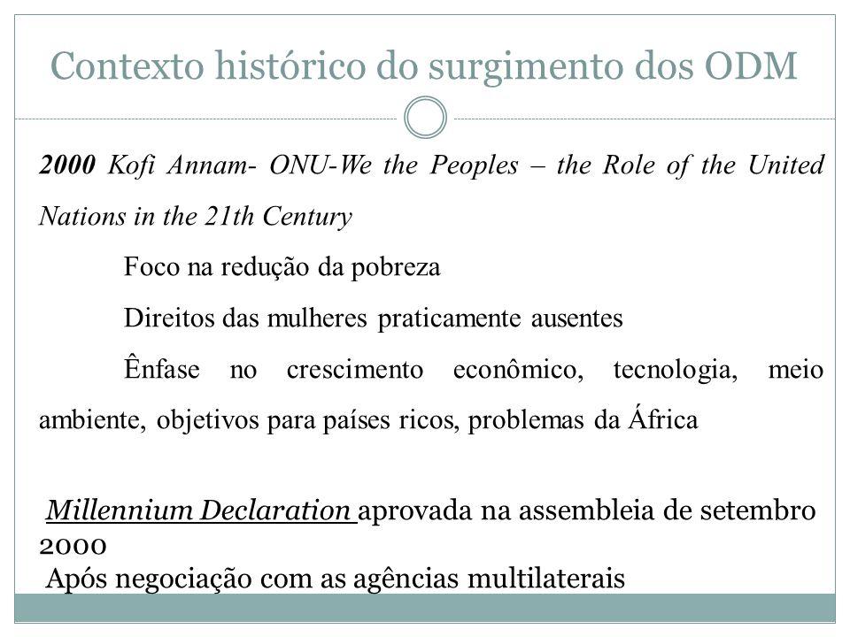 Contexto histórico do surgimento dos ODM 2001 Road Map towards the implementation of the UN Millennium Declaration Nasce os Objetivos do Milênio Processo liderado pelos países ricos Consolida agenda da ONU com a do WB, FMI e OECD