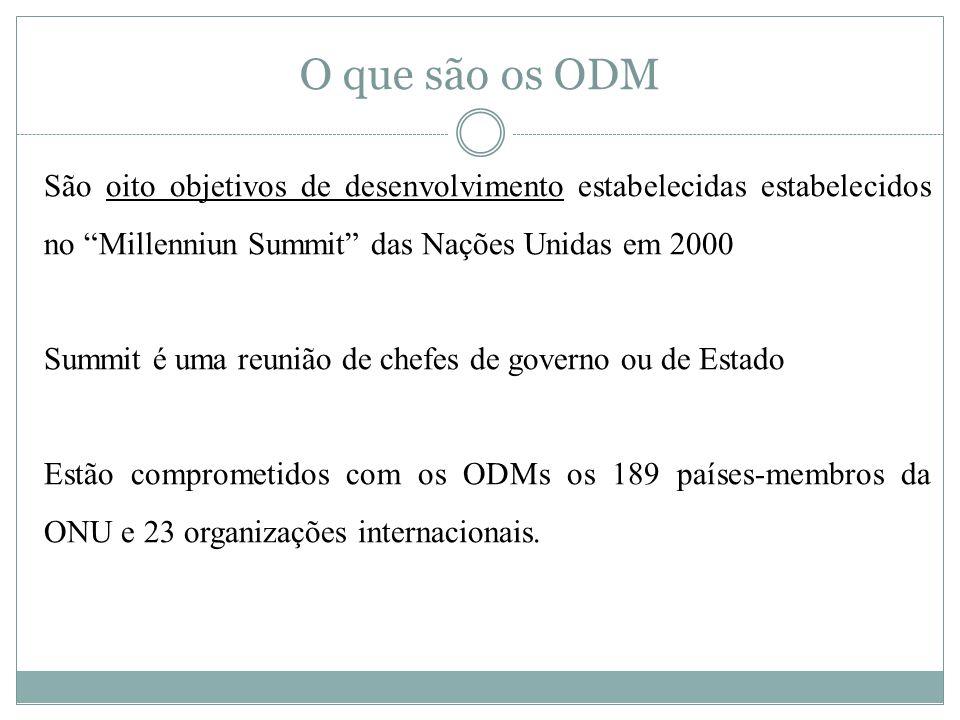 O que são os ODM São oito objetivos de desenvolvimento estabelecidas estabelecidos no Millenniun Summit das Nações Unidas em 2000 Summit é uma reunião de chefes de governo ou de Estado Estão comprometidos com os ODMs os 189 países-membros da ONU e 23 organizações internacionais.