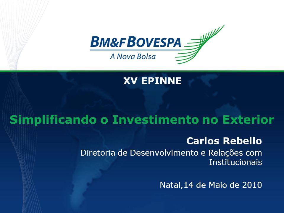 Simplificando o Investimento no Exterior Carlos Rebello Diretoria de Desenvolvimento e Relações com Institucionais Natal,14 de Maio de 2010 XV EPINNE