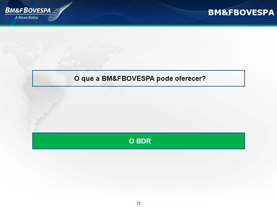 BM&FBOVESPA O que a BM&FBOVESPA pode oferecer? O BDR 12