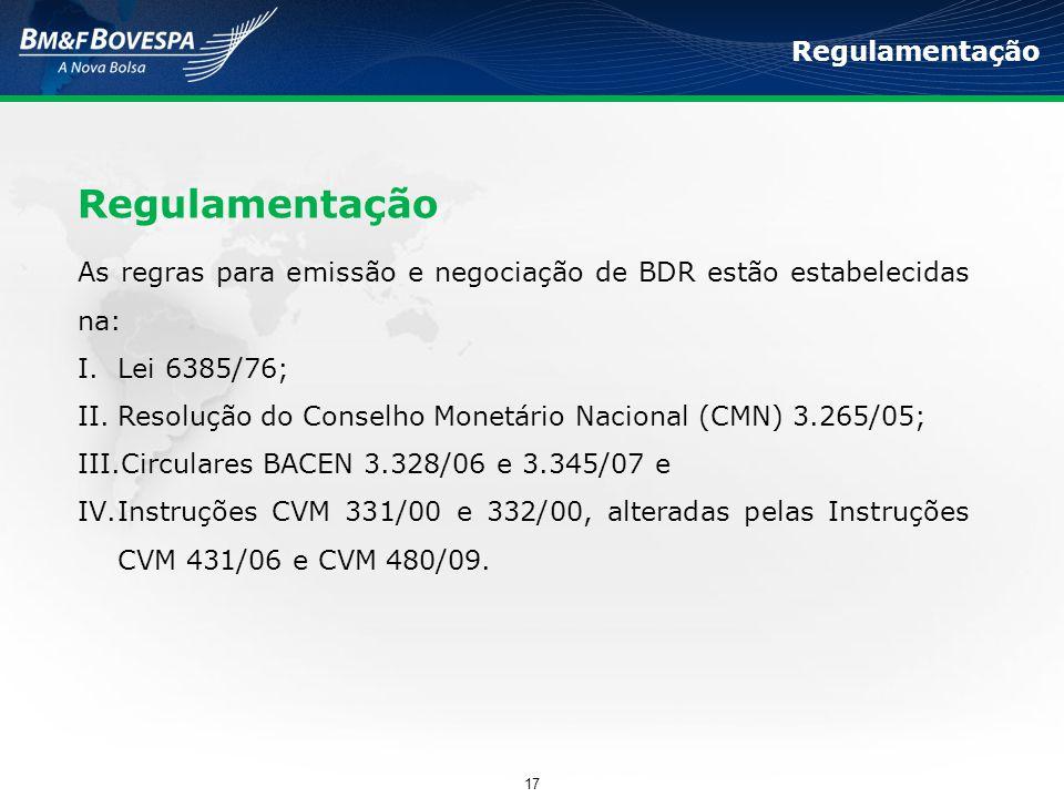 As regras para emissão e negociação de BDR estão estabelecidas na: I.Lei 6385/76; II.Resolução do Conselho Monetário Nacional (CMN) 3.265/05; III.Circ